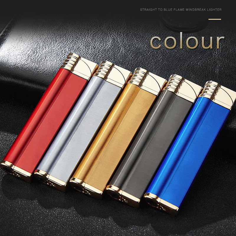 Portable Windproof Gas Lighter Blue Flame Small Shaped Torch Refillable Butan Metal Lighters Creative Cigarett Lighter in Matches from Home Garden