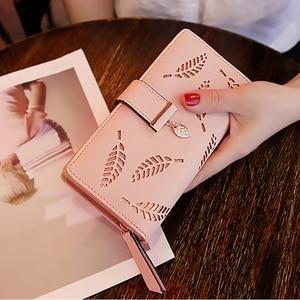 2020 Women Wallet Purse Female Long Wallet Gold Hollow Leaves Pouch Handbag For Women Coin Purse Card Holders Femme