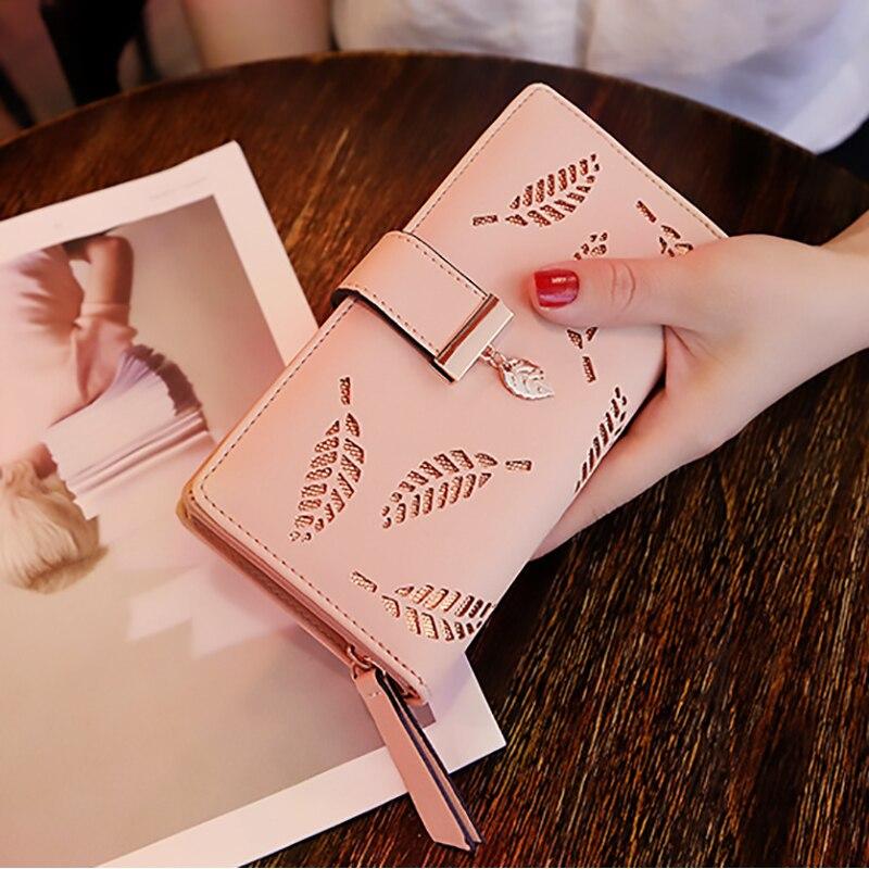 Женский кошелек 2020, Женский Длинный кошелек с золотыми листьями, Сумочка для женщин, кошелек для монет, держатель для карт, Femme