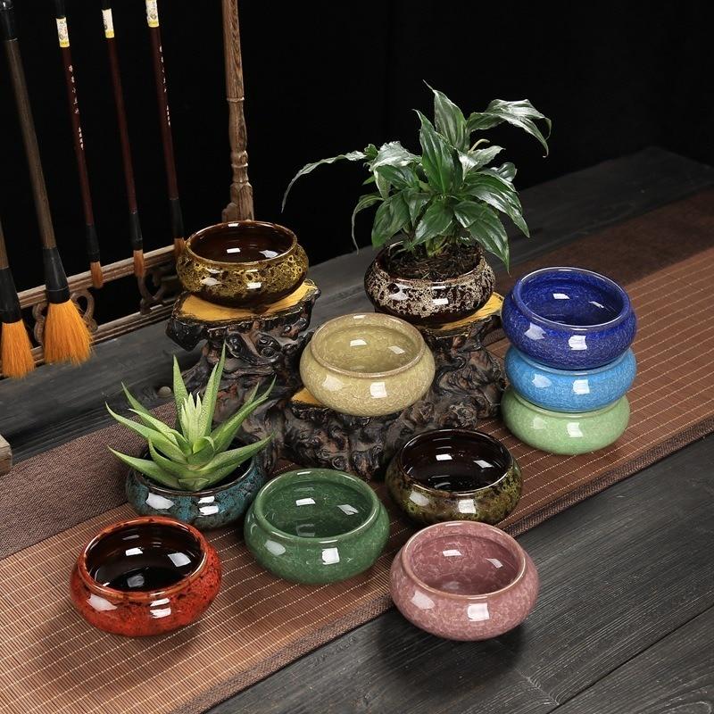 Ceramics Chinese Bonsai Flower Pot Plant Planter Home Garden Decoration