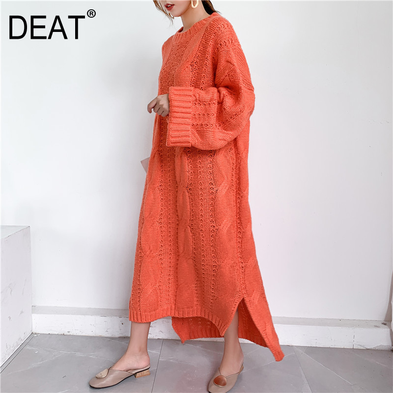 DEAT 2020 New Autumn And Winter Fashion Women Clothes Knits Sweater Woman Overlength Pullover Dress Loose Big Size WJ82002