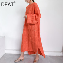 DEAT 2021 new autumn and winter fashion women clothes knits Sweater Woman Overlength pullover dress loose big size WJ82002