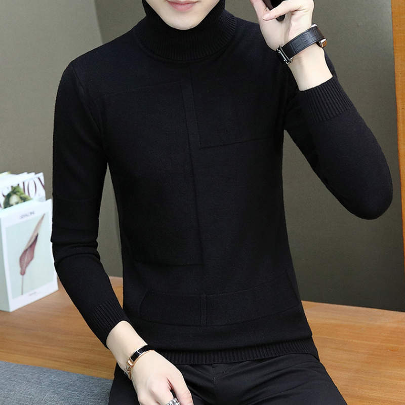 2019 Warm Brand Autumn Men's Fashion Casual Men's Sweater Men Pullover High-Necked Solid Sweater M-3XL