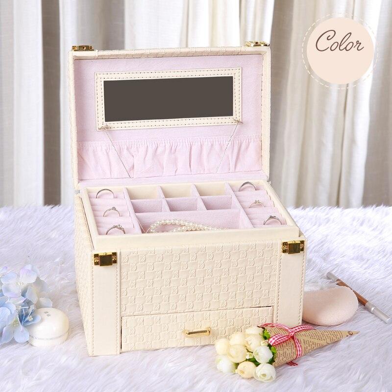 3 Types multi couche bijoux boîte de rangement rose blanc femmes boîte de rangement Portable affichage housses pour filles bijoux organisateur pour cadeau - 3