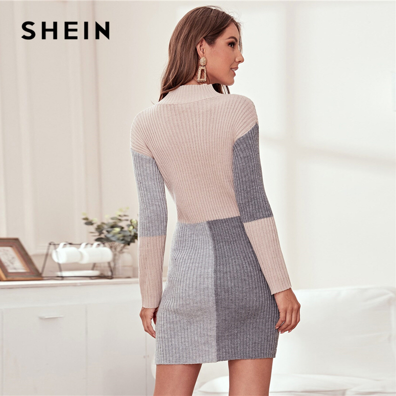 SHEIN Color Block Rib-knit Bodycon Sweater Dress Without Belt Women Spring Winter Stand Collar Knitted Elegant Pencil Dresses 2