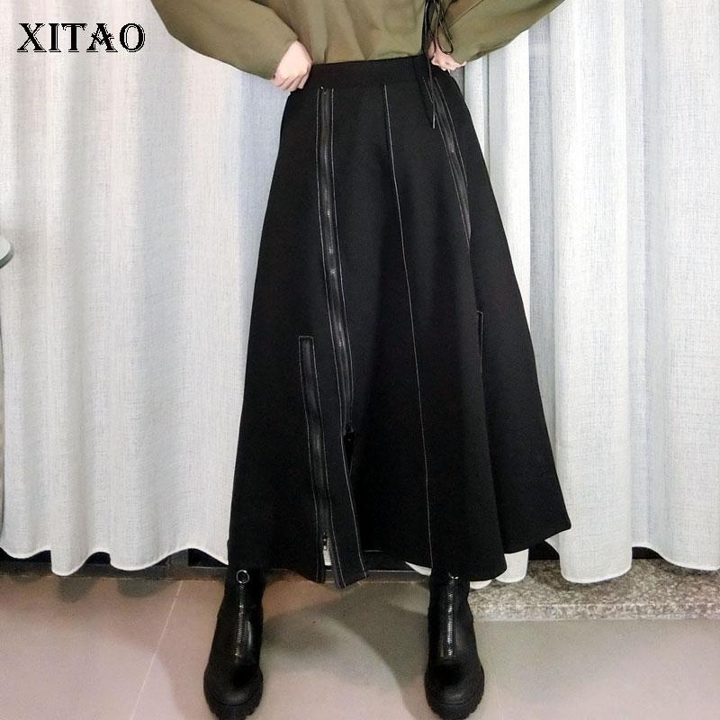 XITAO Hohe Taille Rock Mode Neue Frauen Elastische Taille 2020 Winter Patchwork Split Göttin Fan Lässig Stil Lose Rock ZY2444