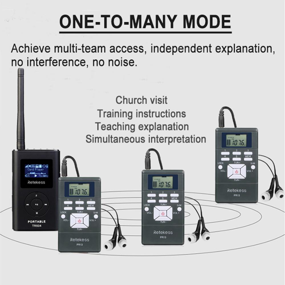 Wireless Tour Guide System 1FM Transmitter+10Radio Receiver for Meeting//Training