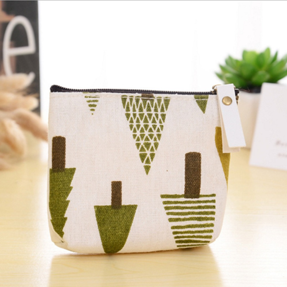Zipper storage bag forest coin purse coin bag simple fashion cartoon key bag canvas small cosmetic bag multi-function 30N12 (7)