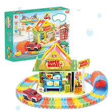 Hot Railway Magical Racing Track Play Set With 3D Puzzle model Flexible Race Track Electronic Flash Light Car Toys For children new magic track flexible rail racing car model railway road magical truck pull back tracks cars set diy toys for children gifts