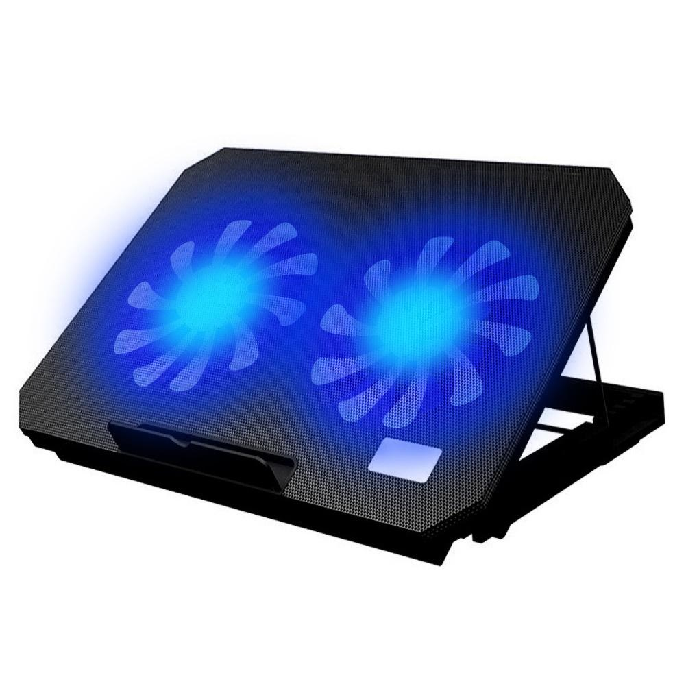 Laptop cooler with 2 fans 2 USB ports led light and notebook cooling pad Computer stand adjustable