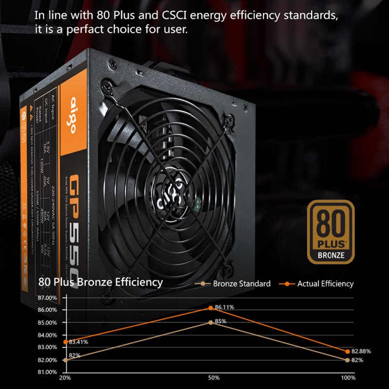 Aigo GP550 zasilacz do komputera stacjonarnego 550W 80PLUS brąz cichy mocy 12V ATX mocy czynnej dostaw komputerowy wentylator chłodzący dla Intel AMD PC