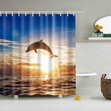 Bleu Ciel Beau Coucher de Soleil d'été océan Blanc Soleil Mignon Dauphin Rideau de Douche Tissu Durable moulé Accessoires d