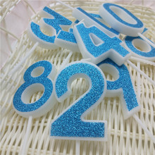 Happy Birtday Cake Candles Number 0 1 2 3 4 5 6 7 8 9 Blue Colors Candle for  Kids Girls Boys Birthday Party Decoration Supplies