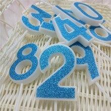 Mutlu Yıllar Pastası Mumlar Numarası 0 1 2 3 4 5 6 7 8 9 Mavi Renkler Mum Çocuklar için kız Erkek Doğum Günü Partisi Dekorasyon Malzemeleri