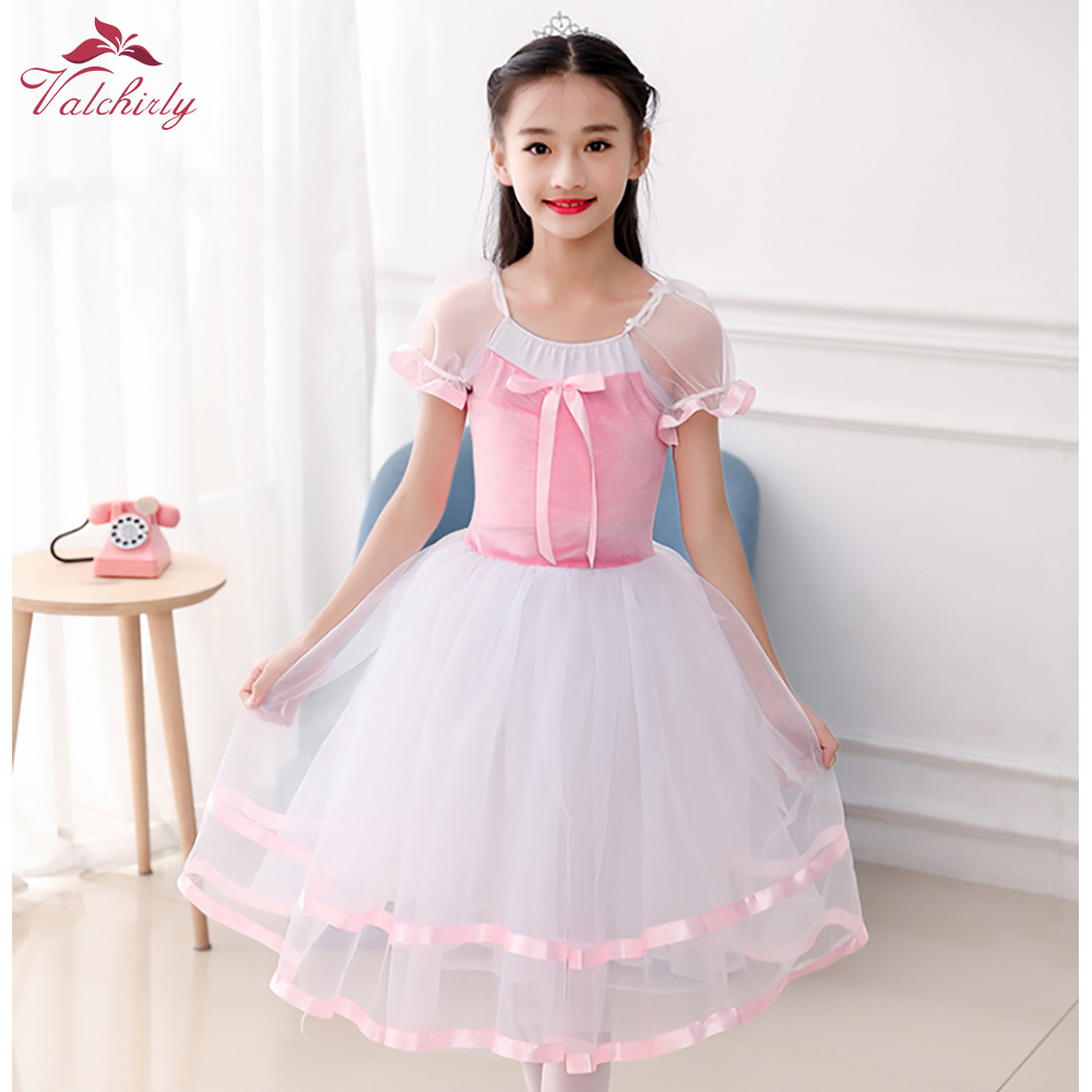 Pink  Girls Ballet Leotard Dance Dress Tutu Skirt Velvet Gymnastics Leotard Dancewear Ballerina For Kids
