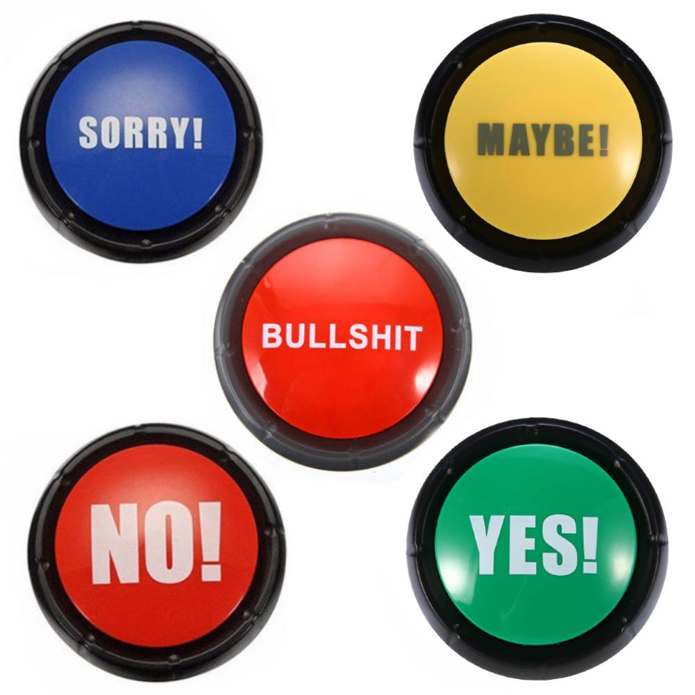 Talking Button Bullshit Maybe No Sorry Yes Sound Button Toys  Home Office Party Funny Gag Toy For Funny Party
