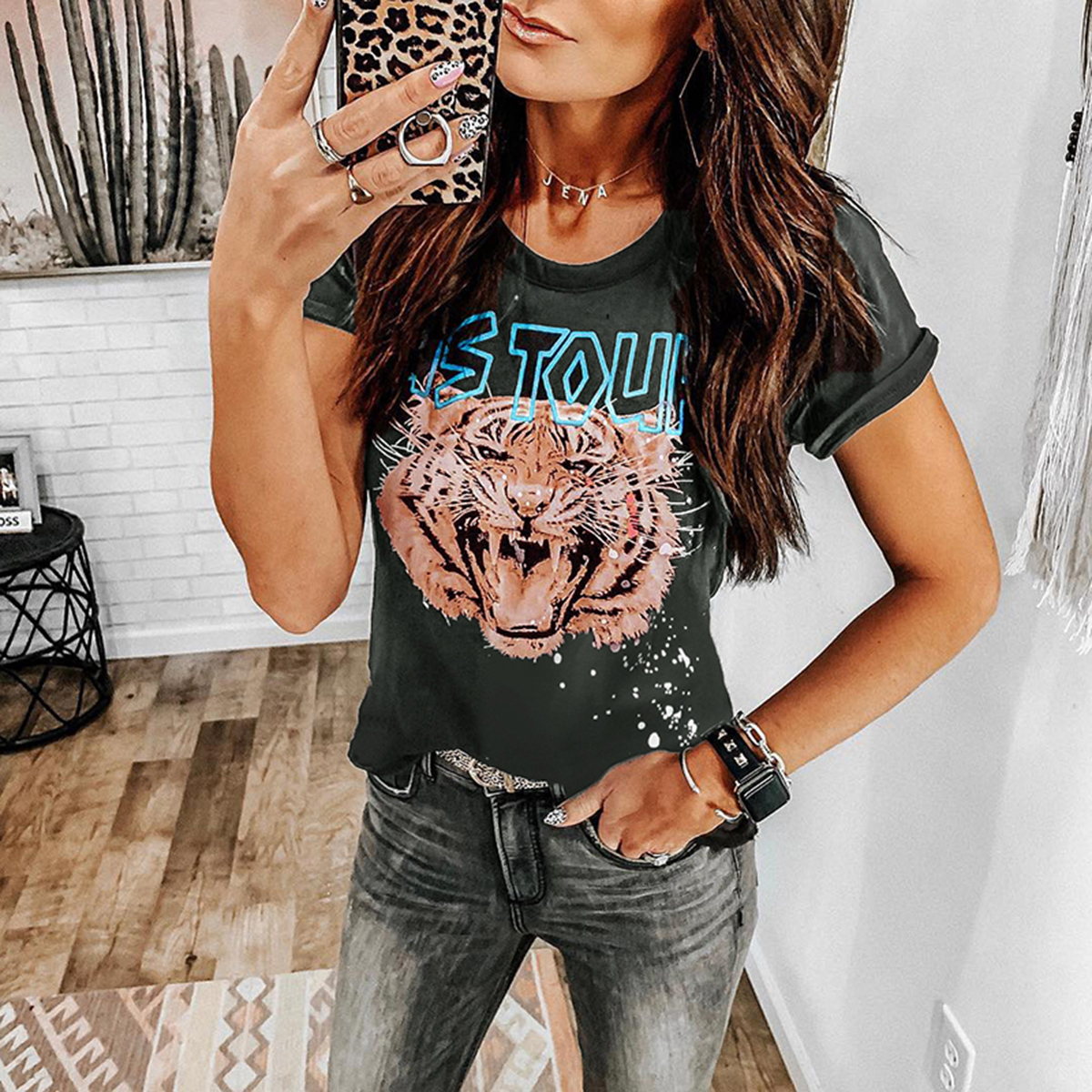 T-shirt Women US Tour Tiger Print Tops Tees Shirt Short Sleeve O Neck Streetwear Vintage Cotton Tshirts Female 2019 Summer New