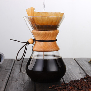 400-800ml Classic Glass Coffee Pot Wooden Handle Heat Resistant Pour Over Coffee Maker Manual Coffeemaker Hario V60 Hand Dripper(China)