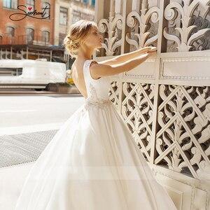 Image 5 - BAZIIINGAAA  Luxury Wedding Dress Satin V neck Sleeveless Bridal Luxury Crystal Decoration Wedding Dress Support Tailor made