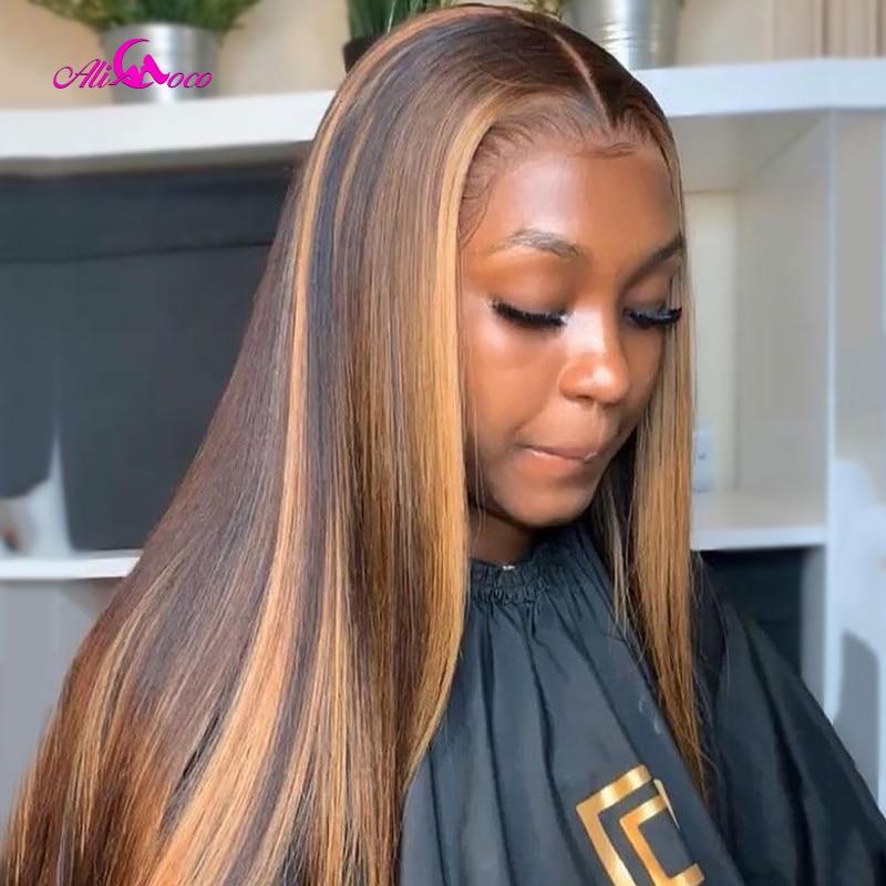 Ali coco #4/30 destaque colorido perucas de cabelo humano pré arrancadas frente do laço perucas de cabelo humano ombre remy peruca frontal para preto