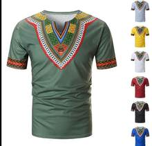 Nova chegada moda estilo verão africano homem plus tamanho camiseta M-3XL