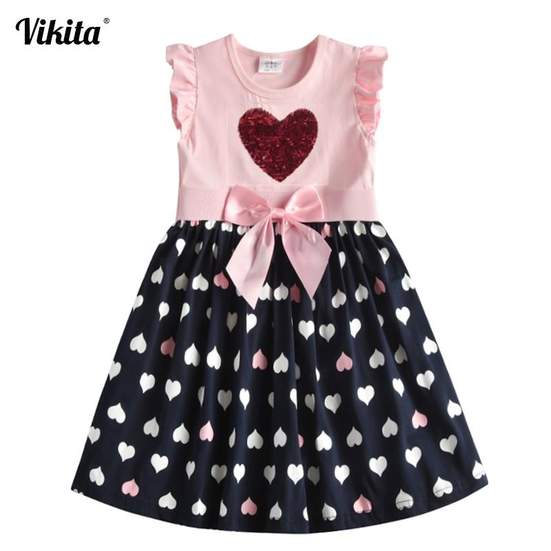 VIKITA Kids Summer Dress For Girls Toddlers Cotton Dresses Children Sequins Vestidos Girls Heart Butterfly Cartoon Dress