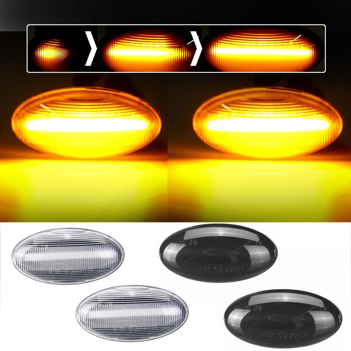 Par LED fluye indicador lateral Luz de repetición para Peugeot 307, 206, 207, 407, 107 para Citroen C1 C2 C3 Xsara de señal de vuelta de las luces de la lámpara