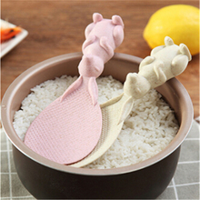 wheat straw+pp Cute rabbit non-stick rice spoon home high temperature resistant wheat straw green rice spoon rice scoop