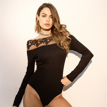 Women Lace Bodysuit Black Bodycon Top Off Shoulder Lady Body Long Sleeve Patchwork Jumpsuit Slim Fit Ruffle