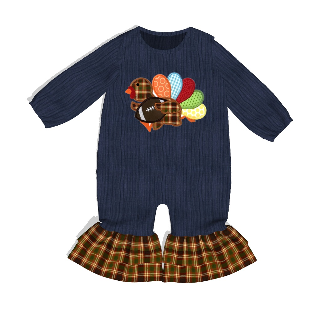 Pre-order CONICE NINI Baby Boy Girl   Romper   Turkey Clothes Embroidery Cotton Navy   Rompers   Baby Boutique Clothes GPF907-728-HY