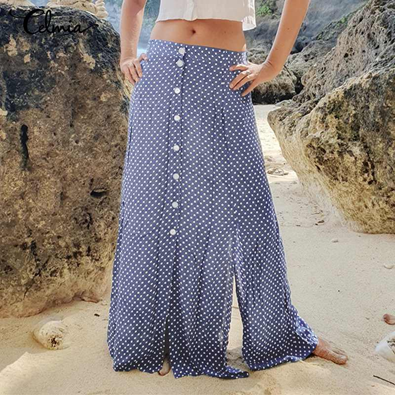 Bohemian Polka Dot Print Summer Skirts Women's Maxi Skirt Celmia 2020 Fashion High Waist Casual Split Buttons Beach Long Skirts