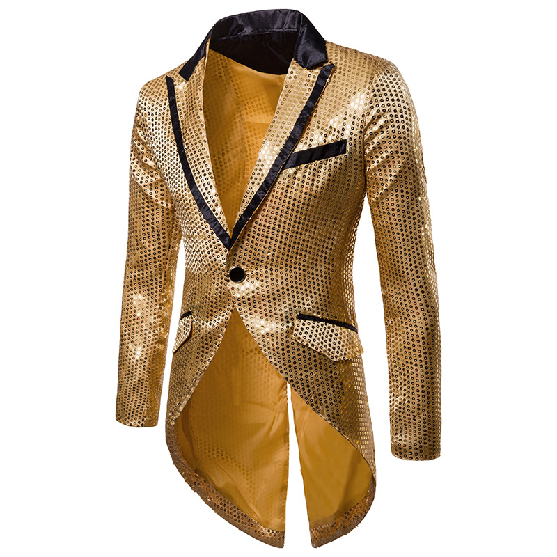 Mens Notched Lapel Blazer Gold Shiny Sequin Nightclub Prom Suit Jacket DJ Club Stage Singer Costume Homme Blazer Masculino XXL