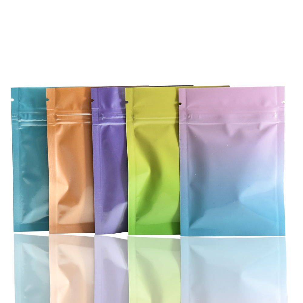 Glossy Shiny Foil Resealable Zip Lock Bags Stand Up Pouches Food Grade Heat Seal