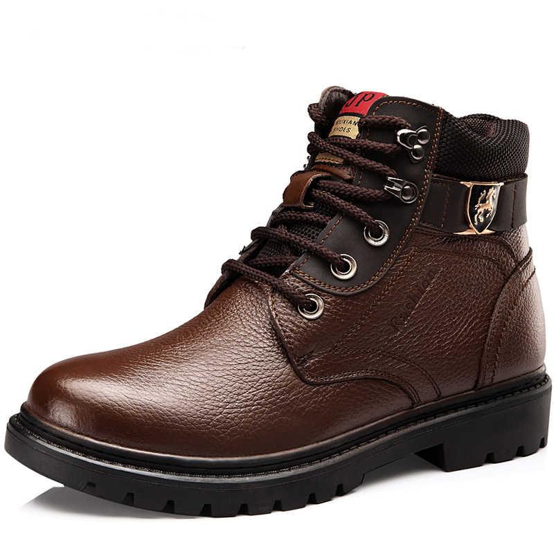 Мужская зимняя обувь; теплые удобные модные зимние ботинки из натуральной кожи; водонепроницаемые ботинки; мужские теплые ботинки из шерсти и плюша