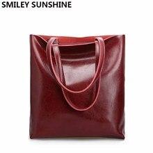 Vintage Real Genuine Leather Handbags Big Women Hand Bags Female Shopp