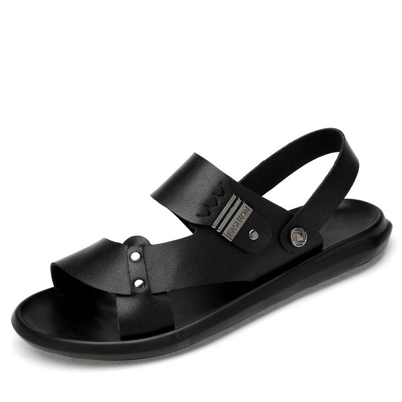 Leather luxury Sandals Men Clogs Shoes Wading Outdoor Mens Sandles Summer Slippers Garden Shoes Men New 2019 sandalias hombre