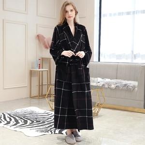 Image 5 - Women Winter Plaid Plus Size Long Flannel Bathrobe Warm Kimono 40 130KG Bath Robe Cozy Robes Dressing Gown Men Night Sleepwear