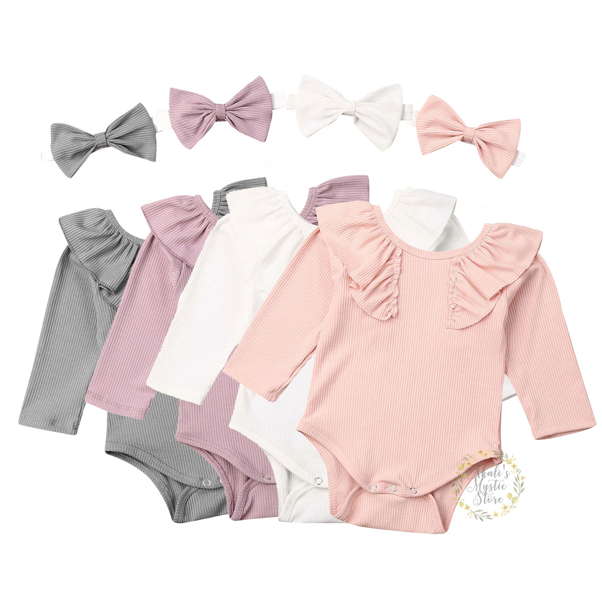 0-24M Infant Baby Girl Kids Ruffles Solid Long Sleeve Romper Jumpsuit Top Blouse