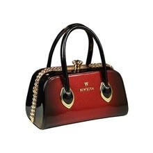 New trend women's handbags famous brand patent leather shoulder bag ladies boston messenger bags clip evening clutch luxury tote