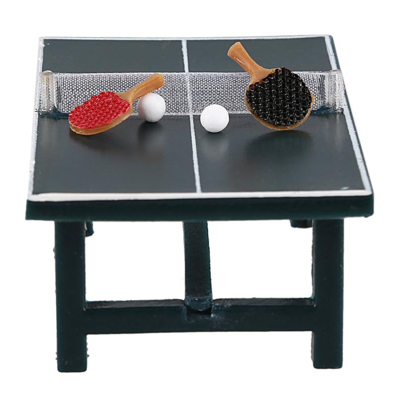 Dollhouse Miniature - PING PONG TABLE WITH BALLS & RACKETS