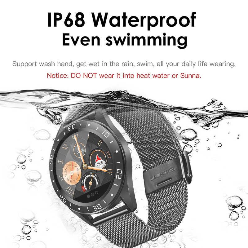LIGE 2019 yeni paslanmaz çelik siyah akıllı saat erkekler kalp hızı kan basıncı spor izci spor izle su geçirmez Smartwatch