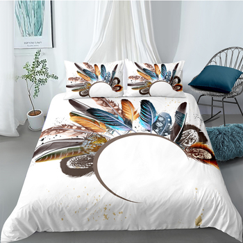 Feathers Bedding Set Double Creative Fashionable Tribal Duvet Cover White King Queen Twin Full Single Unique Design Bed Set