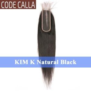 Image 2 - Extensions de cheveux humains malaisiens Remy Lace Closure, Code Calla, KIM K, dimensions 2x6 pouces, noir naturel brun foncé, couleurs