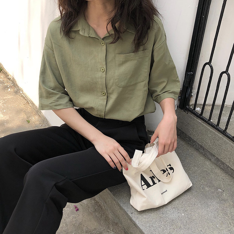 HziriP Female Loose Solid Short Sleeves Pockets Casual 2020 Chic Tops Basic Blouses All Match Women Office Lady Gentle Shirts
