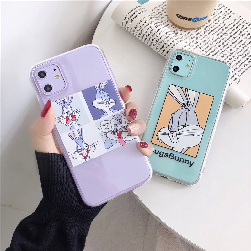 Cartoon Bugs Bunny Transparent Fall für <font><b>iPhone</b></font> 11 11Pro Max für <font><b>iPhone</b></font> <font><b>X</b></font> XR <font><b>XS</b></font> Max 7 8 Plus Telefon fall Nette Weiche Abdeckung capa image