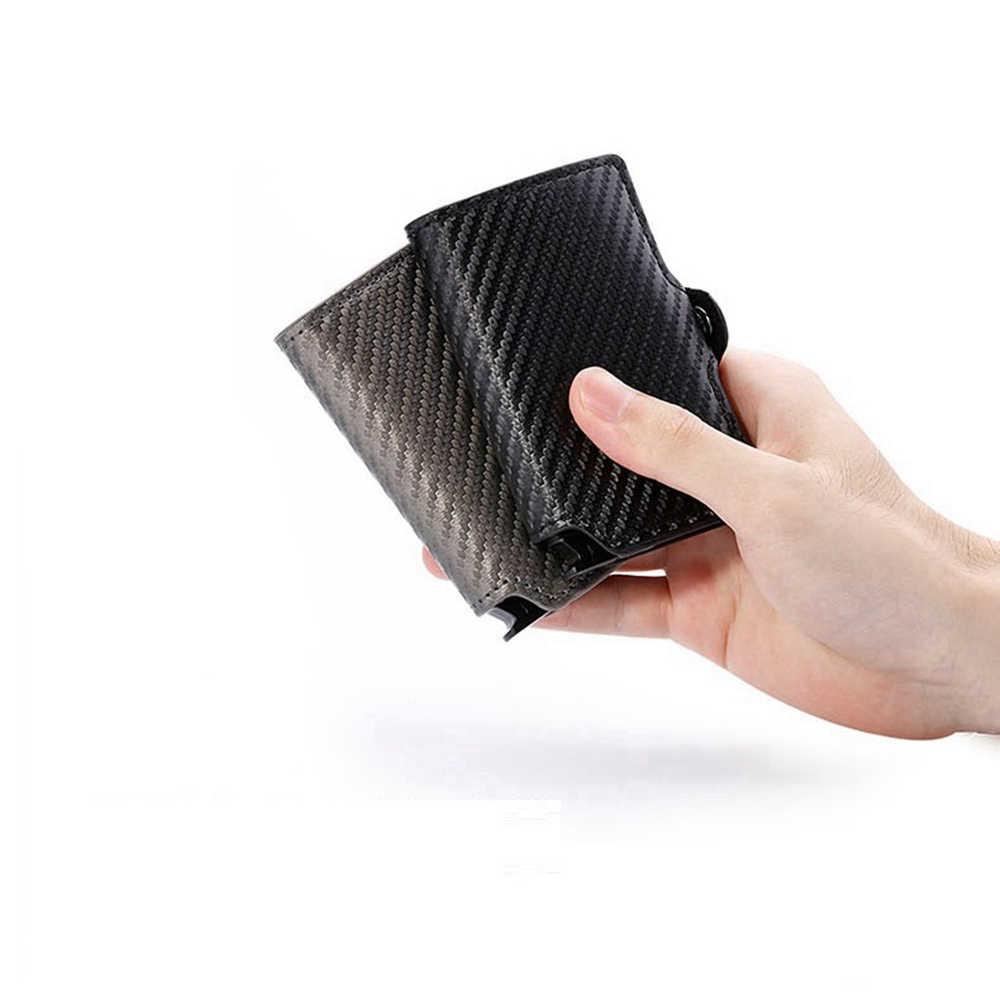 1 sztuka Pu Leather Men metalowy portfel na karty moda etui na karty kredytowe mężczyźni biznes bankowa karta identyfikacyjna przypadki kobiety karta rfid portfele