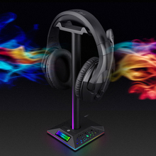 Gaming Headset Stand with 3.5mm 2 USB Ports RGB Non slip Headphones Holder for Gamer Gaming Computer Desktop PC Accessories