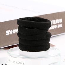 10Pcs Black Elastic Seamless Hairbands Scrunchie Simple Style Hair Rope Ponytail Holder Ties Headwear Kids Accessories