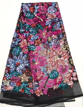 Nigeria Lace French Lace Fabric Super Hot Nigerian Wine Lace Fabric High Quality Embroidered Lace Fabric with Sequins DYSZP99