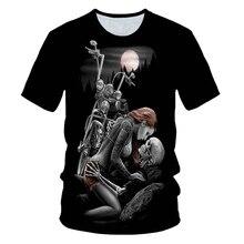 Skull Beauty Rock Cool 3D t shirts Mens Motorcycle Punk 3D Printed T shirt Men Clothes tshi